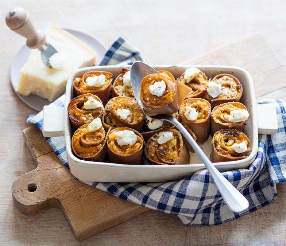 Lasagnes roulées au potiron, recette de Laura Zavan