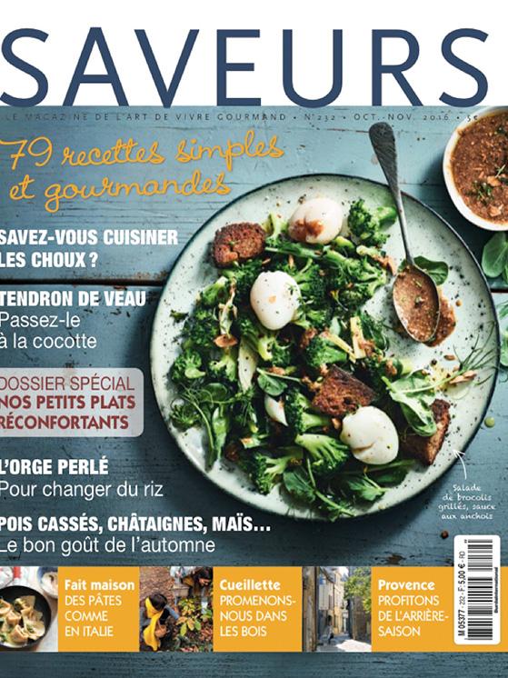 Couverture magazine Saveurs, octobre 2016