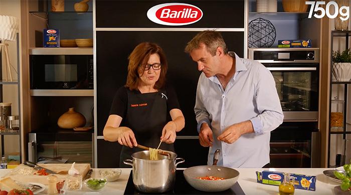 Laura Zavan et chef Damien pour Barilla