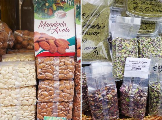 Marché de Syracuse, vente d'amandes et pistaches