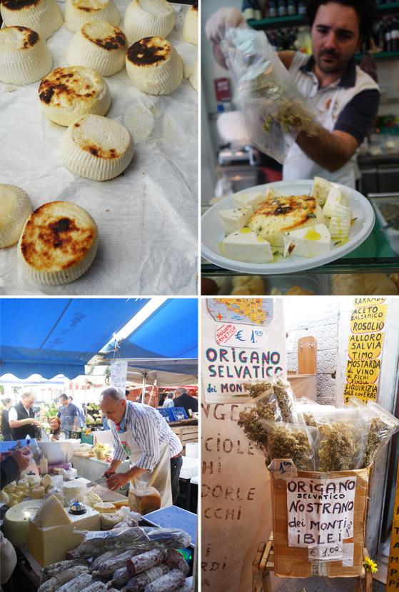 Marché de Syracuse, vente de ricotta et fromages