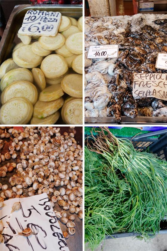 Marché de Venise, poissons et légumes