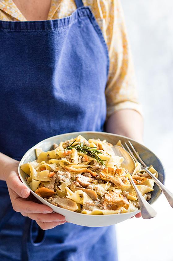 Tagliatelle au veau et champignons, recette de Laura Zavan