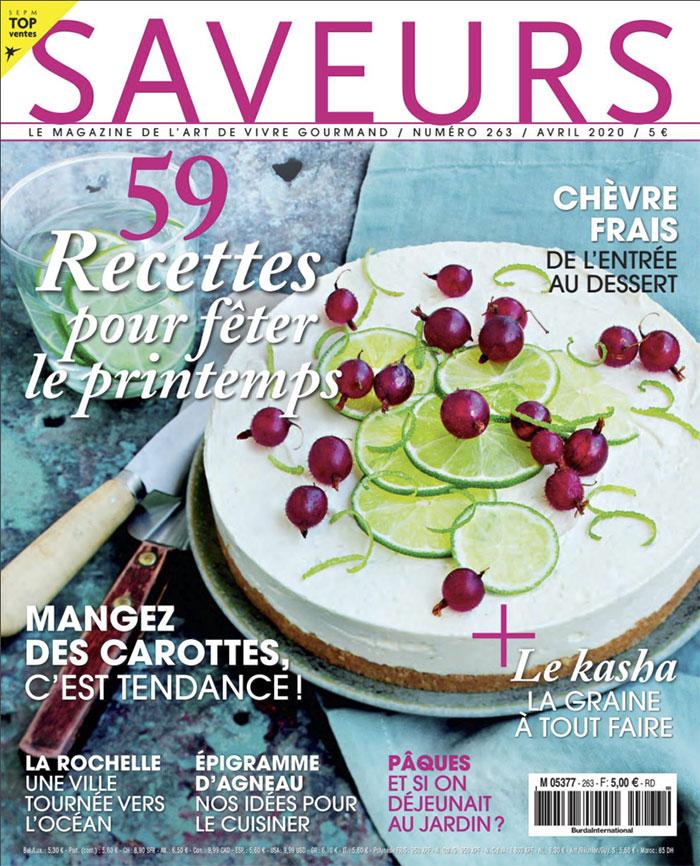 Saveurs magazine, couverture avril 2020