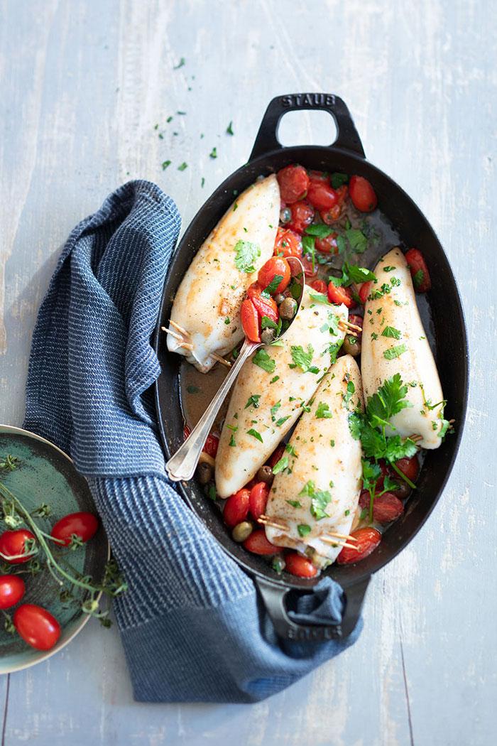 Calamars farcis, recette de Laura Zavan