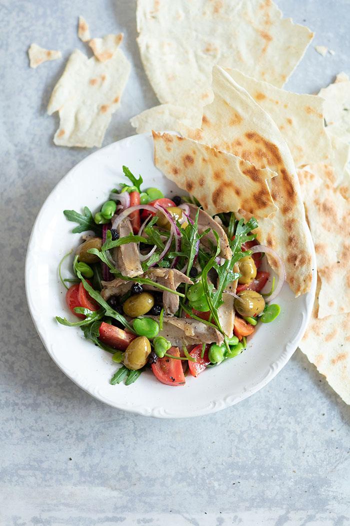 Salade de poule au myrte, recette de Laura Zavan